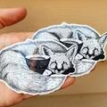 Teacup Fox, Black & White Vinyl Art Sticker