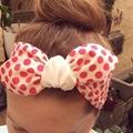 Kids size pink spotty cotton headband, tie it yourself