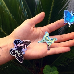 Trio of Butterflies Stickers, Set of Three Vinyl Holographic & Metallic Stickers