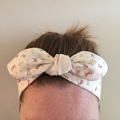 Adults reversible Cotton Headband with elastic at the back