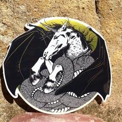 Unicorn Dragon Chimera Gold Metallic Art Sticker