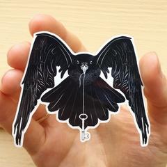 Crow & Key, Black and White Vinyl Art Sticker