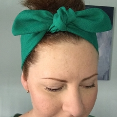 Linen headband Adults - Forest Green - tie up headband with elastic