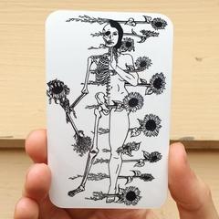 Justice Tarot Card Sticker, Vinyl Art Sticker of Skeleton & Sunflowers
