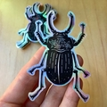 Large Holographic Stag Beetle Sticker, Bug Art Sticker