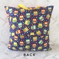 Owl Reading Pillow Blue, Red and Yellow - Book Cushion Cover - Gift for Kids