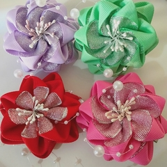 Ribbon flower shape hair clip 