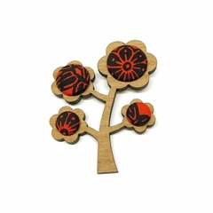 Kimono Tree Brooch - Blood Red