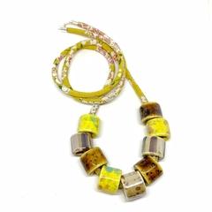 Speckled Egg Ceramic Beads on Kimono Cord - Mustard Yellow