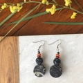 Acrylic, Agate & Red Carnelian dangle earrings.