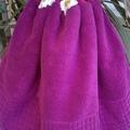 Set x 2 Fuchsia Pink Crochet Top Hand Towels Cotton Free Shipping Australia