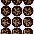 BLACK AND GOLD BRIDE TRIBE 60MM ROUND GLOSSY STICKERS