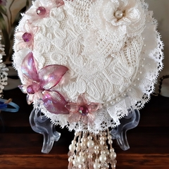 Recycled CD Art  Antique/Vintage Lace Gift Birthday/Greetings Card - Wall Art