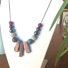 Statement Rhodochrosite beaded necklace.