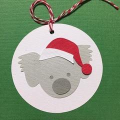 Christmas Koala gift tags. Koala and Santa hat. Xmas gift wrapping, Australiana.
