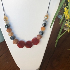 Agate, Druzy, Hematite & Crystal beaded necklace.