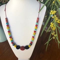Agate, Crystal, Hematite & Timber Beaded Necklace.