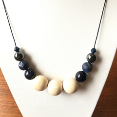 Sodalite, Goldstone & raw Timber Beaded Necklace