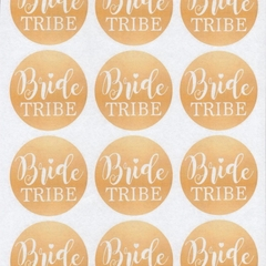 WHITE AND GOLD BRIDE TRIBE ROUND GLOSSY STICKERS