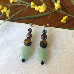 Gentle Green Jade & Tigers eye dangle earrings.