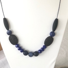 Lava, Agate & Crystal Beaded Necklace