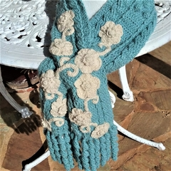 OOAK Alpaca & Cashmere Sage Green Hand Crocheted Scarf