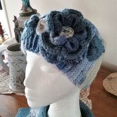 Crochet Head Wrap in Shades of Denim Blue & Grey - Ribbed One Size.