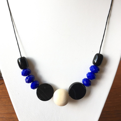 Cobalt Blue Crystal, Agate & Timber Beaded Necklace