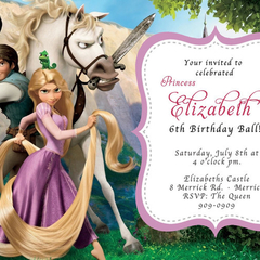 12 x Disney Tangled  Birthday Party Invitations