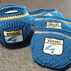 Free Postage HAND CROCHET WEST COAST EAGLES LAWN BOWLS BUDDIES/BEANIES Set of 4