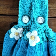 Set x 2 Turquoise  Crochet Top Hand Towels Thick Cotton Free Shipping Australia