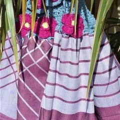 Set of 3 Crochet Top Tea Towels - Quality  Cotton, Crochet Button, Flower & Trim