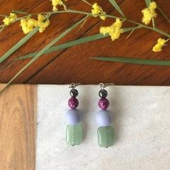 Green Jade, Shell & Agate dangle earrings.