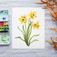 Daffodils Printable Watercolour Botanical Art | A3, A4 & A5 Instant Download
