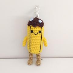 Adventure Time mini Banana Guard crochet keyring keychain, banana plush toy