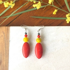 Red Stone & Crystal Dangle earrings.