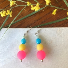 Neon Silicone & Gemstone Dangle earrings.