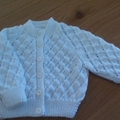 Baby Girls White Patterned Cardigan to fit size 0 to 3 months.