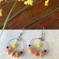 Jade Timber & Crystal hoop damgle earrings.