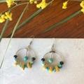 Agate, Timber & Crystal hoop dangle earrings.