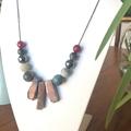 Statement Rhodochrosite beaded necklace.