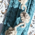 Includes Postage OOAK Alpaca & Cashmere Sage Green Hand Crocheted Scarf