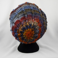 Hat and cowl, warm winter wool/acrylic crocheted multicolored autumn tones