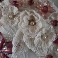 Recycled CD Art  Antique/Vintage Lace Art Deco-Style  Wall Art/Plaque