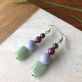 Green Jade, Shell & Agate dangle earrings.