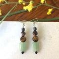 Gentle Green Jade & Tigers eye dangle earrings.