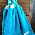 Set x 2 Turquoise  Crochet Top Hand Towels Quality Soft Thick Cotton