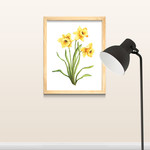 Watercolour Daffodils Art Print A5 7 x 5 in, Botanical Home Wall Art