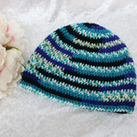 Dark Blue, Light Blue and Teal Adult Beanie