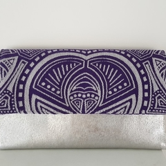 Silver/purple slimline clutch wallet